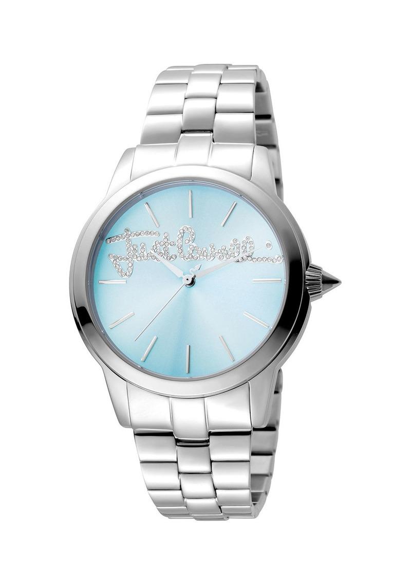 Just Cavalli 36mm Logo Mohair Bracelet Watch  Ice Blue