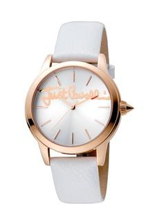 Just Cavalli 36mm Logo Watch w/ Leather Strap  Silver