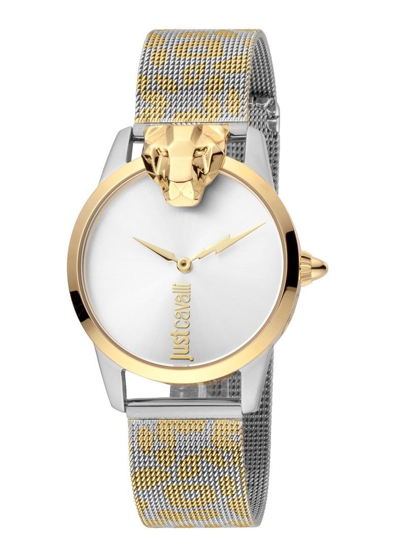 Just Cavalli 3D Animal Watch w/ Mesh Strap  Gold/Silver