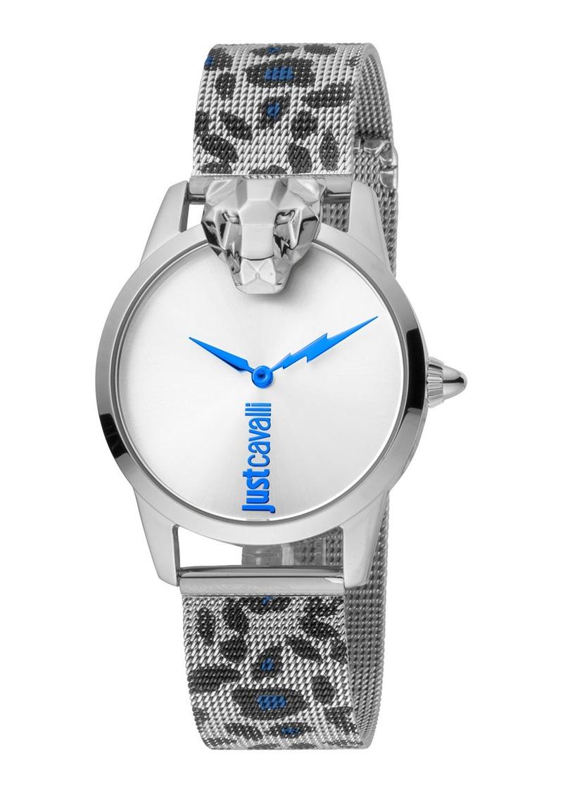 Just Cavalli 3D Animal Watch w/ Mesh Strap  Snow Leopard