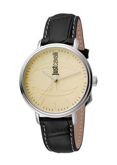 Just Cavalli 40mm CFC Men's Stainless Steel Watch w/ Leather Strap  Cream/Black