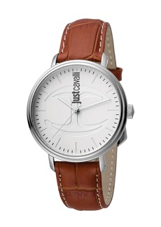Just Cavalli 40mm CFC Men's Stainless Steel Watch w/ Leather Strap  White/Brown