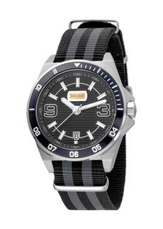Just Cavalli 40mm Men's Stainless Steel Chronograph Watch w/ Nylon Strap  Black/Gray