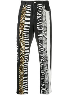 Just Cavalli animal-print panelled jeans