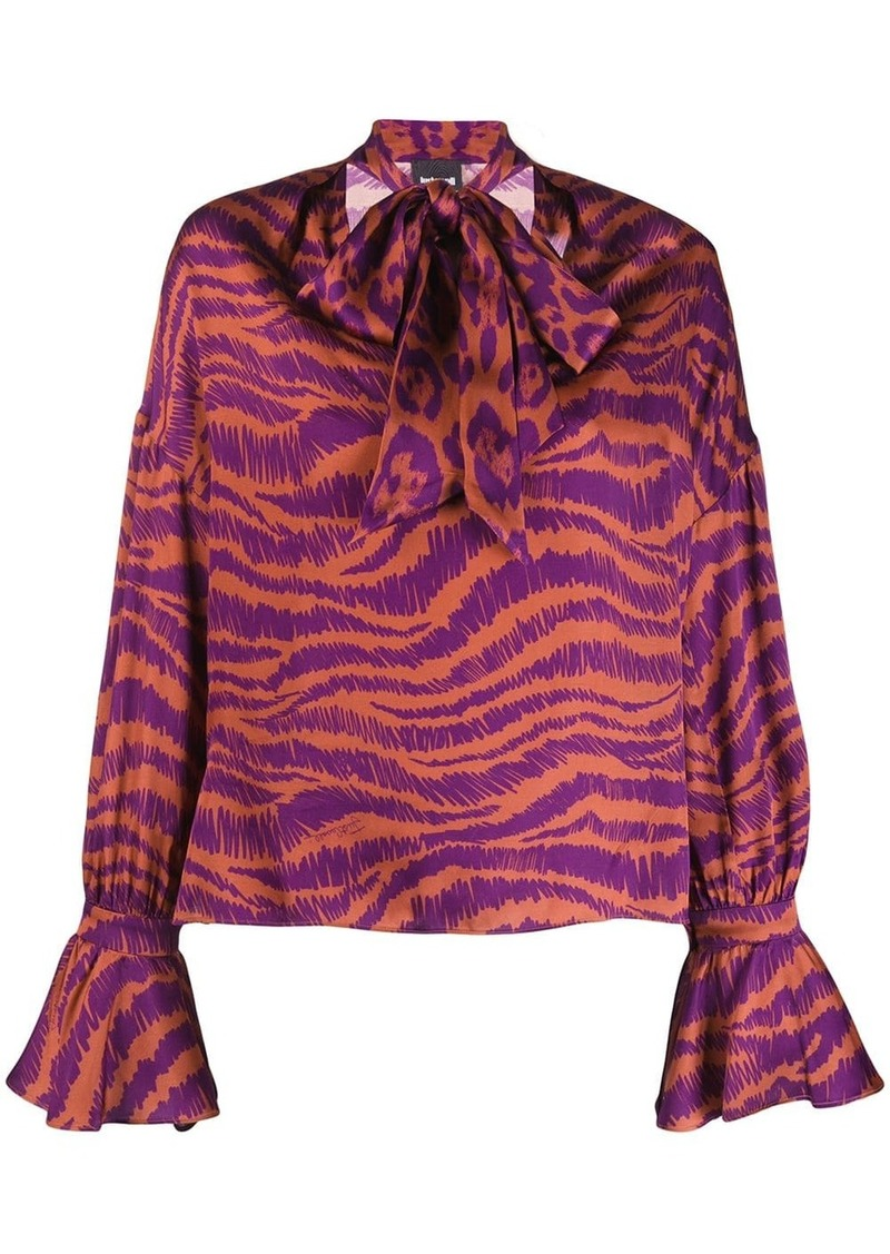 Just Cavalli animal print pussy bow blouse