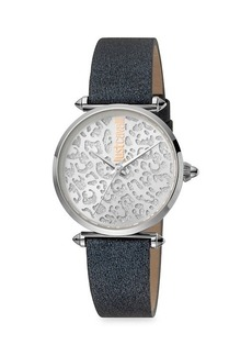 Just Cavalli Animal Stainless Steel Leather-Strap Leopard-Print Watch
