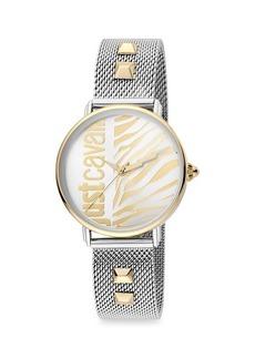 Just Cavalli Animal Two-Tone Stainless Steel Mesh-Strap Zebra-Stripe Watch