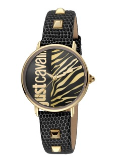 Just Cavalli Animal Watch w/ Leather Strap  Black/Gold