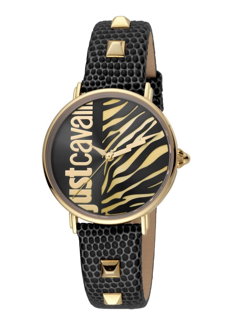 Just Cavalli Animal Watch w/ Leather Strap  Black/Gold