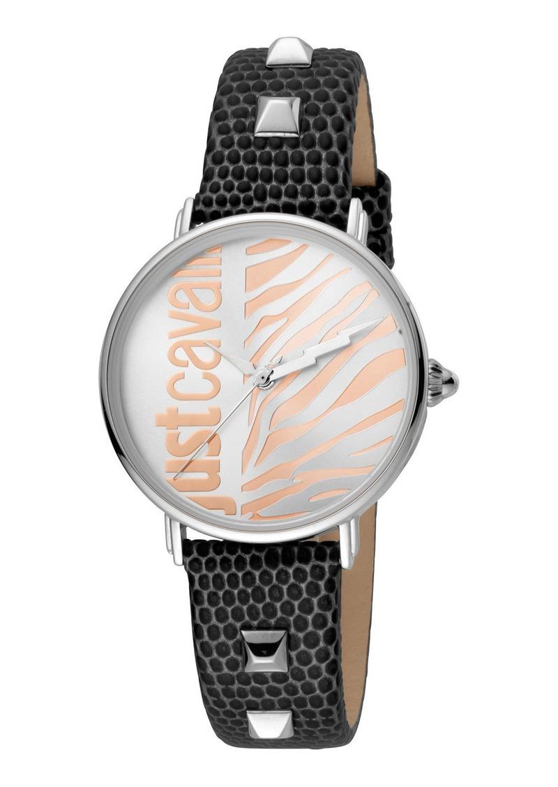 Just Cavalli Animal Watch w/ Leather Strap  Black/Steel