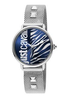 Just Cavalli Animal Watch w/ Mesh Strap  Blue/Steel