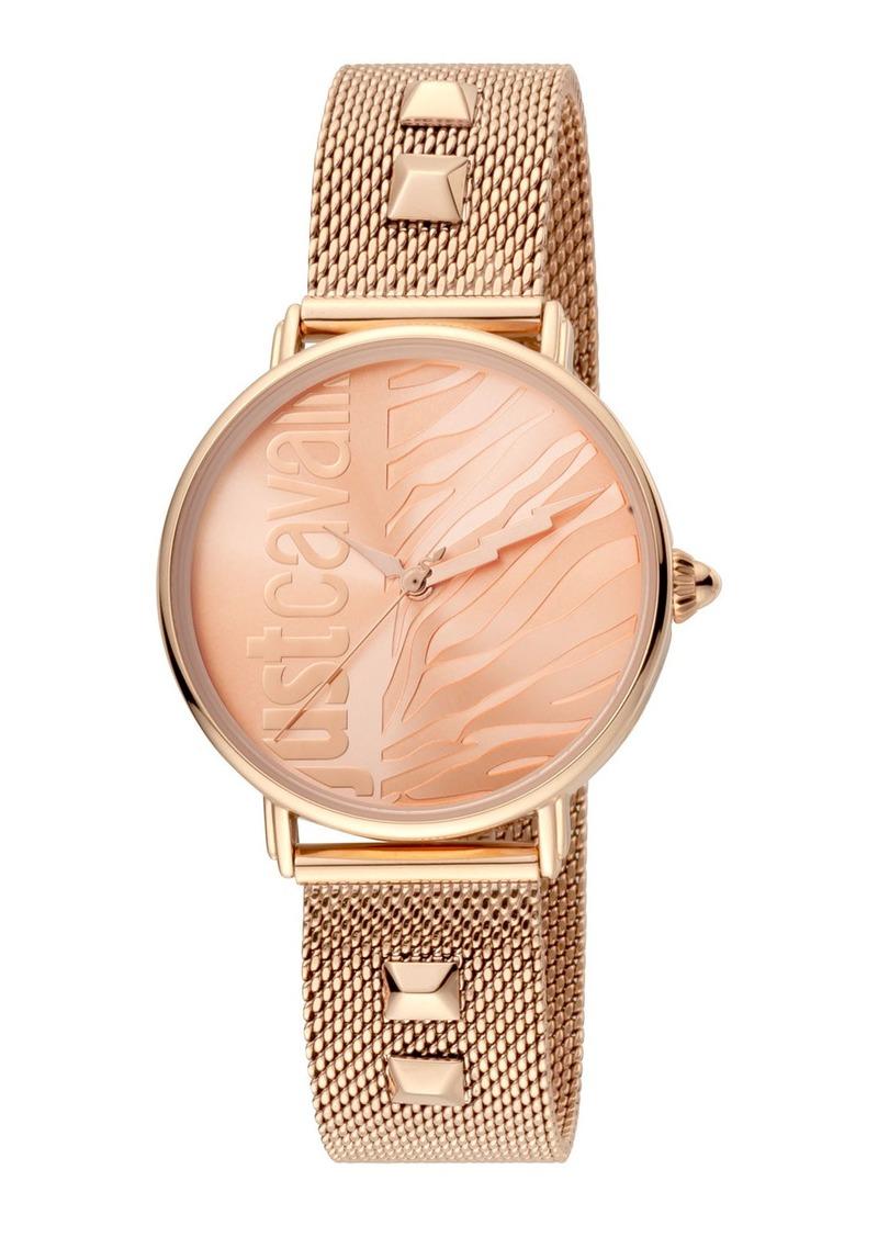 Just Cavalli Animal Watch w/ Mesh Strap  Rose Golden