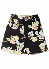 Just Cavalli baroque floral-print denim shorts