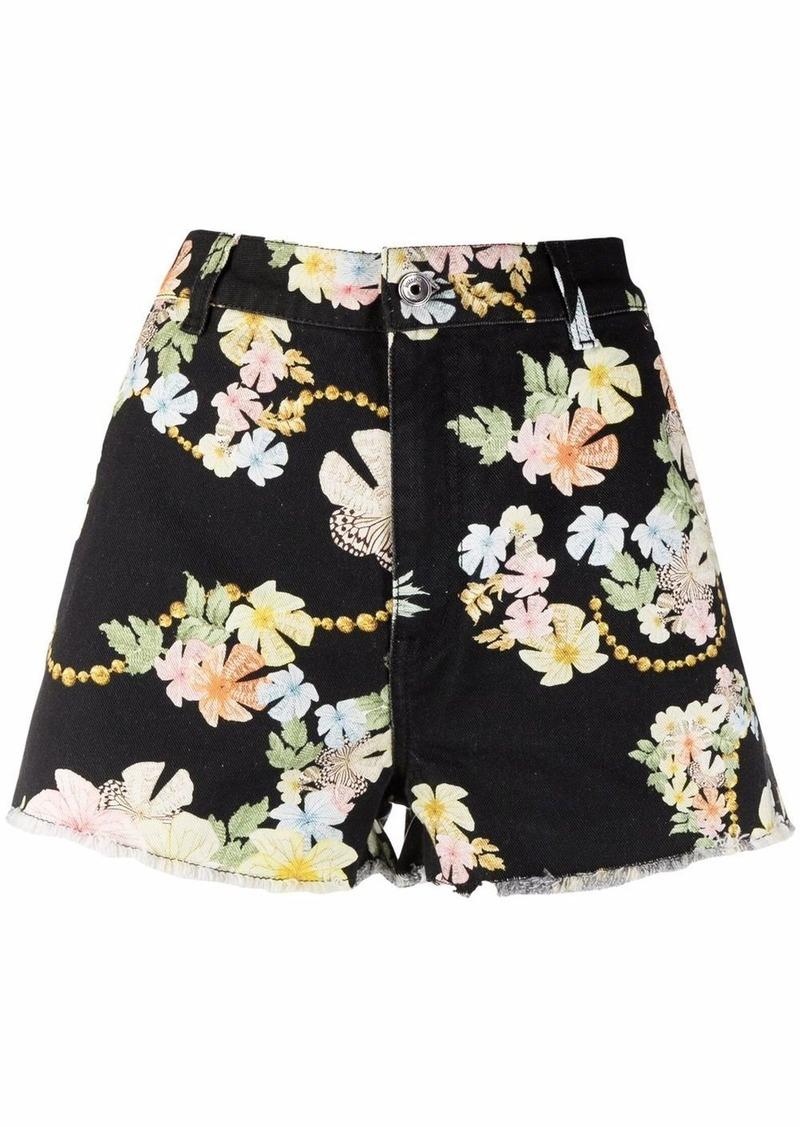 baroque floral-print denim shorts