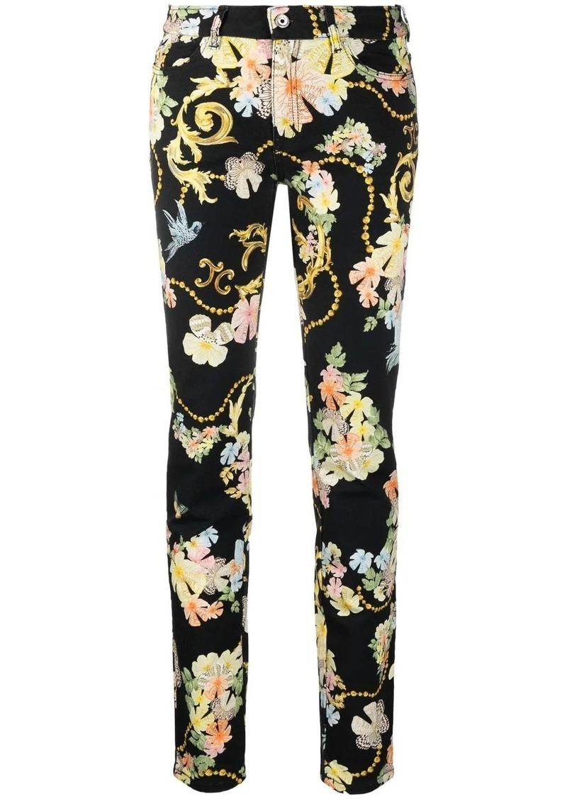 baroque-print slim-cut jeans