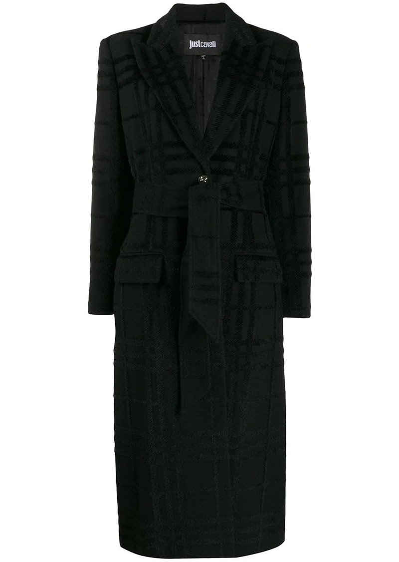Just Cavalli belted checked pattern coat