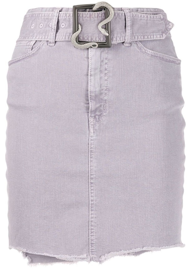 Just Cavalli belted raw-edge denim skirt