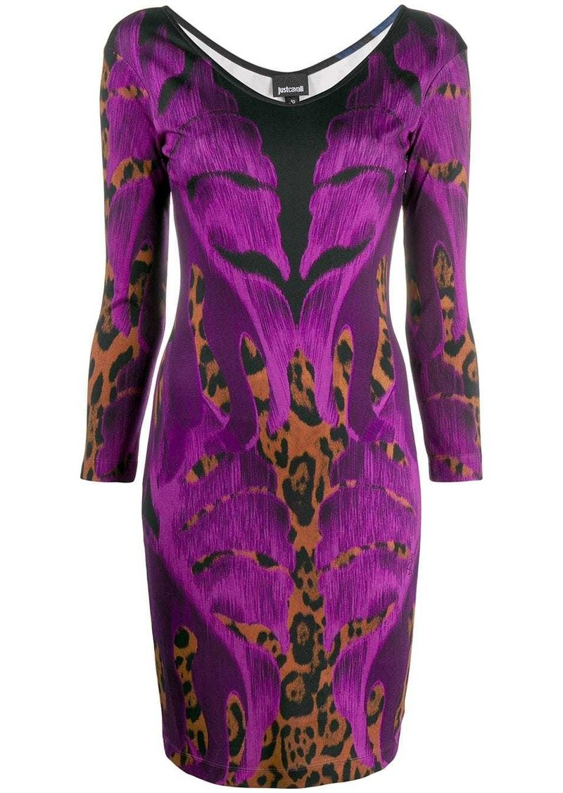 Just Cavalli botanical leopard print dress