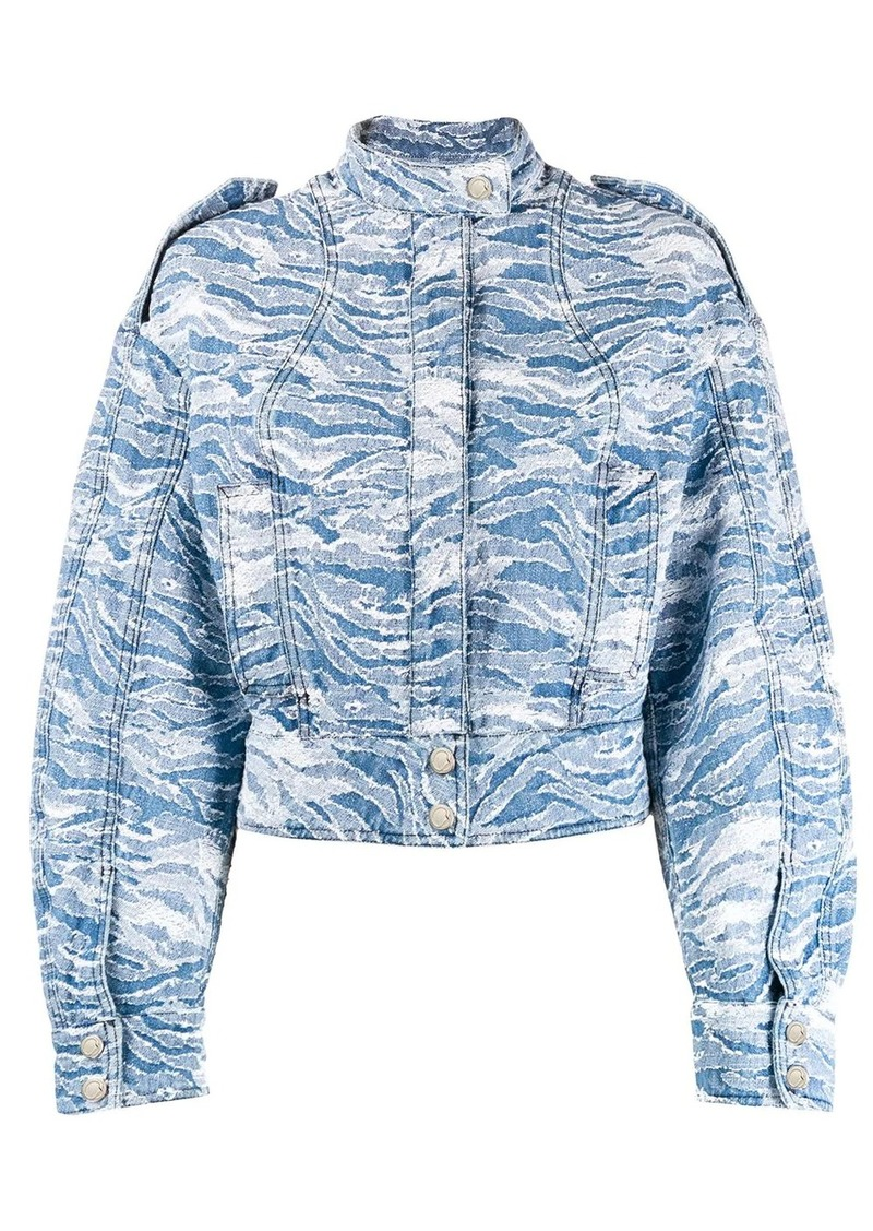 Just Cavalli camouflage-jacquard denim bomber jacket