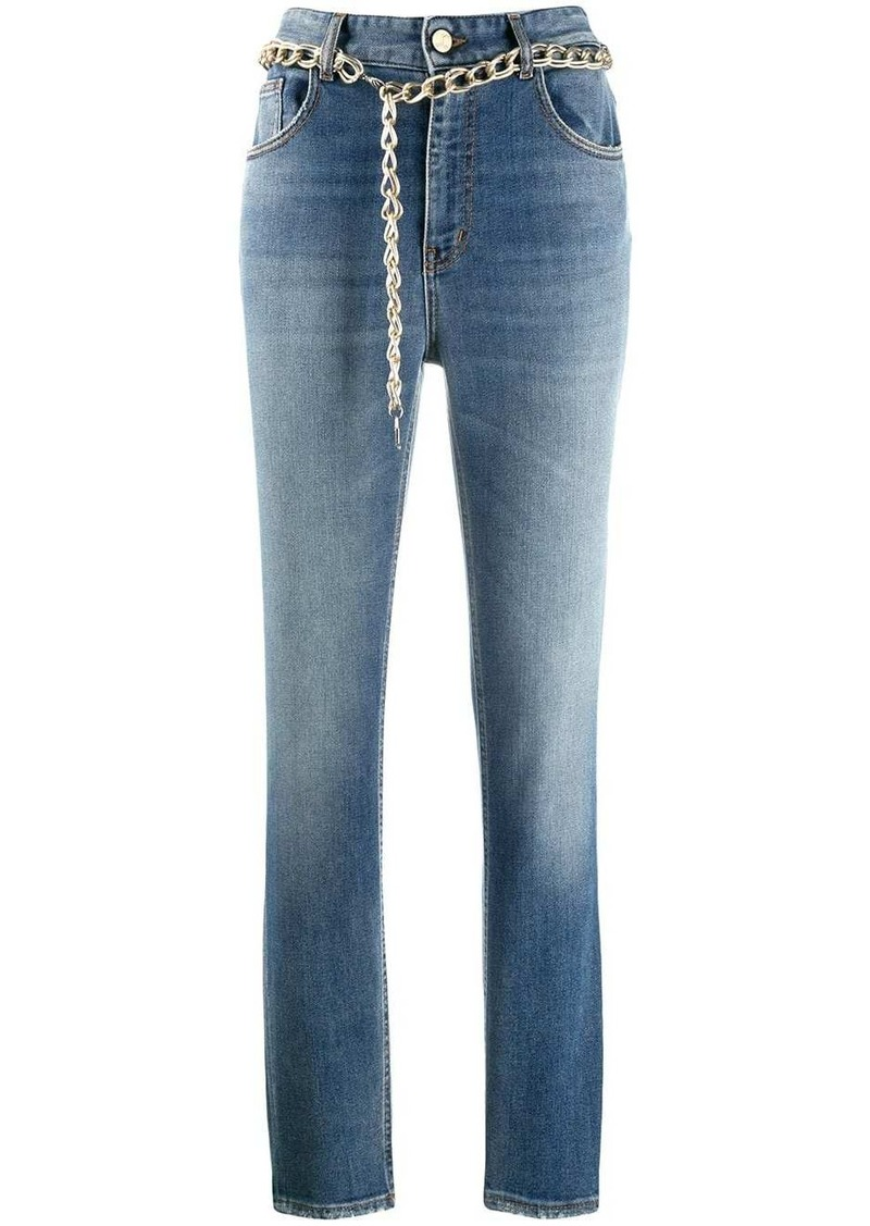 Just Cavalli chain belt straight leg jeans