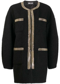 Just Cavalli chain trim cocoon coat