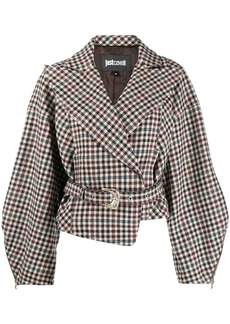 Just Cavalli check print belted jacket