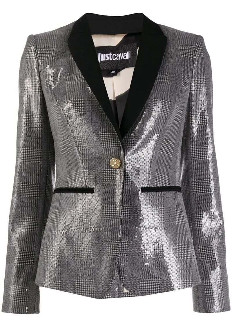 Just Cavalli check print sequin blazer