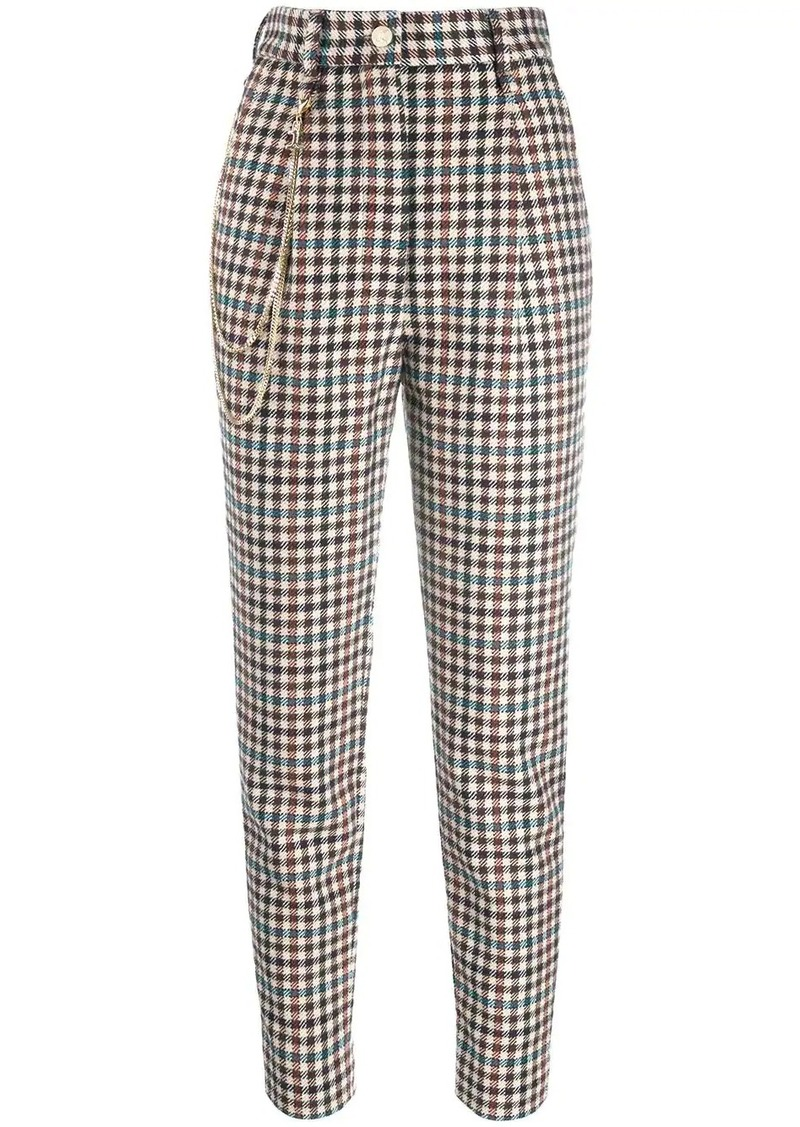 Just Cavalli checked high waisted trousers