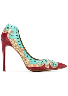 Just Cavalli colour block python-pattern pumps