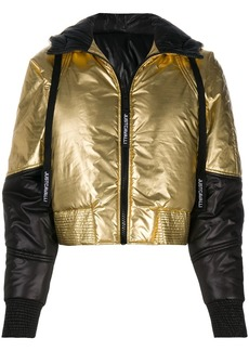 Just Cavalli contrast-panel hooded puffer jacket