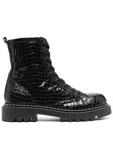 Just Cavalli croc-effect combat boots