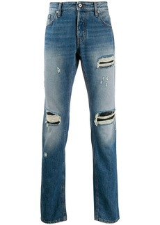 Just Cavalli ripped mid-rise straight jeans