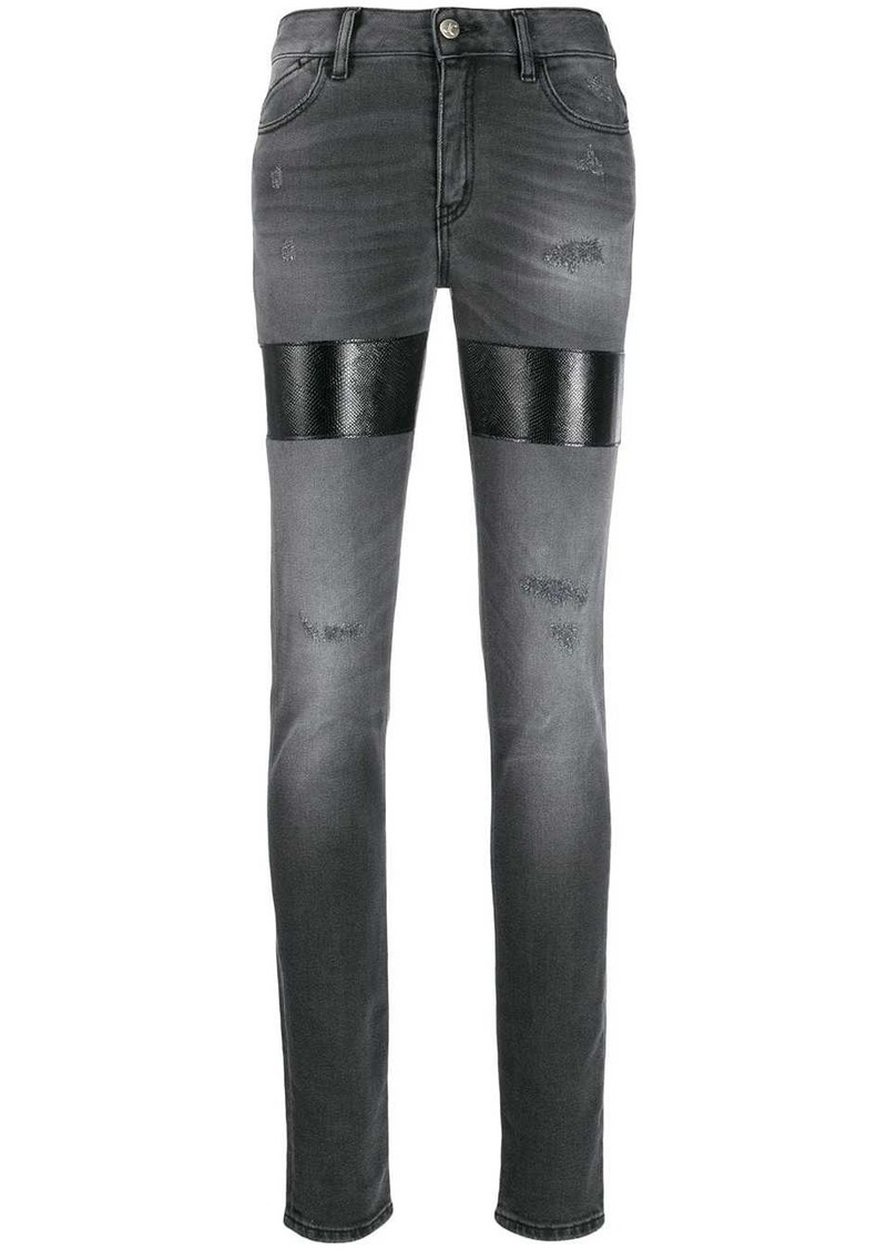Just Cavalli distressed patchwork jeans