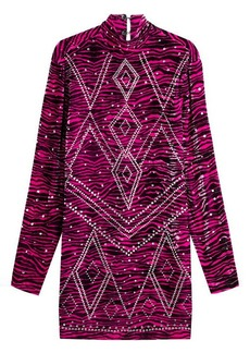 Just Cavalli Embellished Animal Print Velvet Dress