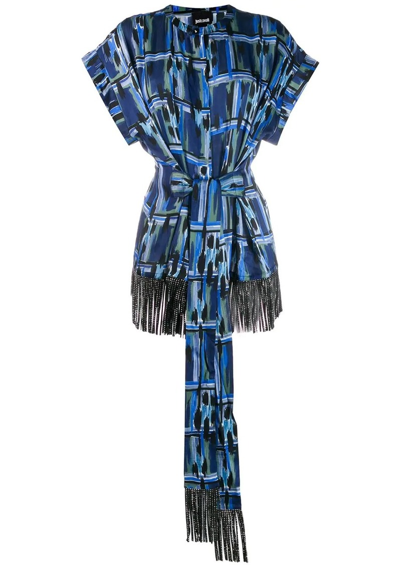 Just Cavalli embellished fringed top