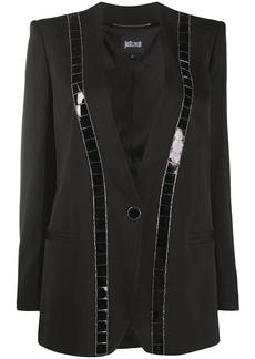 Just Cavalli embellished one button blazer