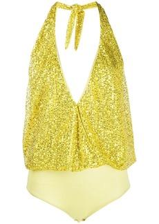Just Cavalli embroidered halter-neck bodysuit