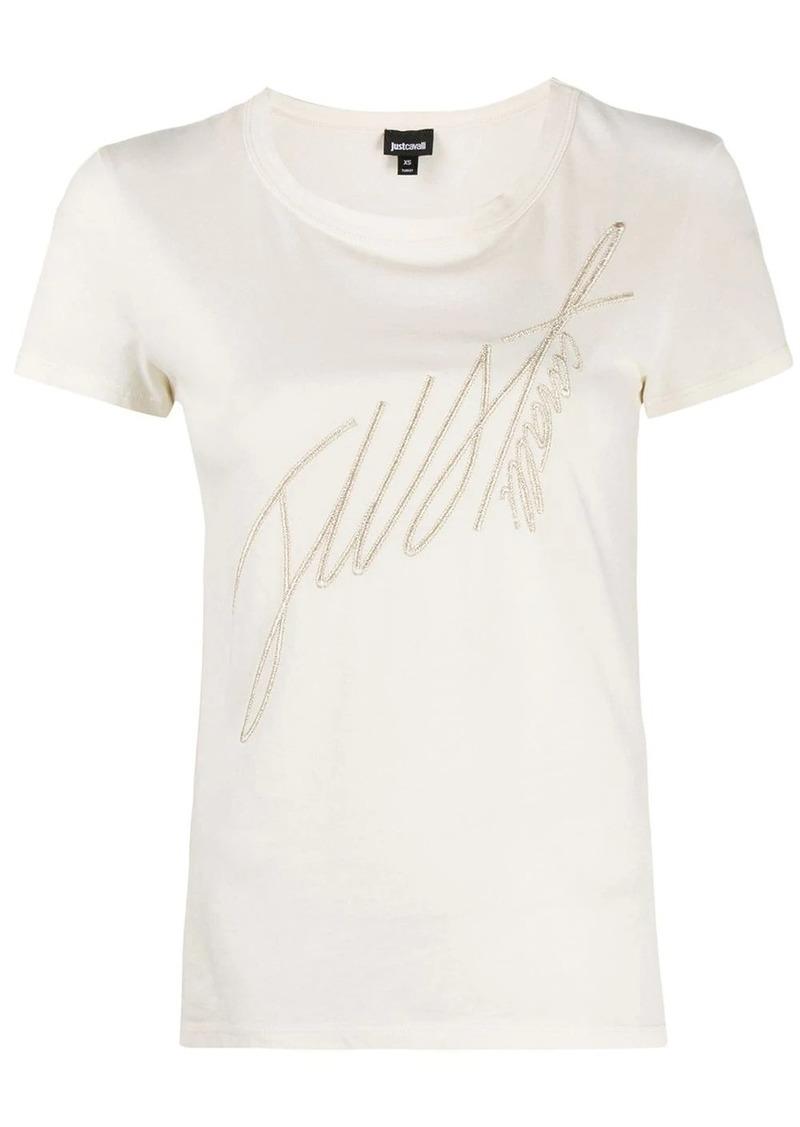 Just Cavalli embroidered logo slim-fit T-shirt