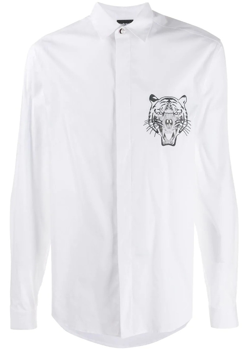 Just Cavalli embroidered tiger shirt