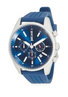 Just Cavalli Energia Stainless Steel Rubber-Strap Chronograph Watch