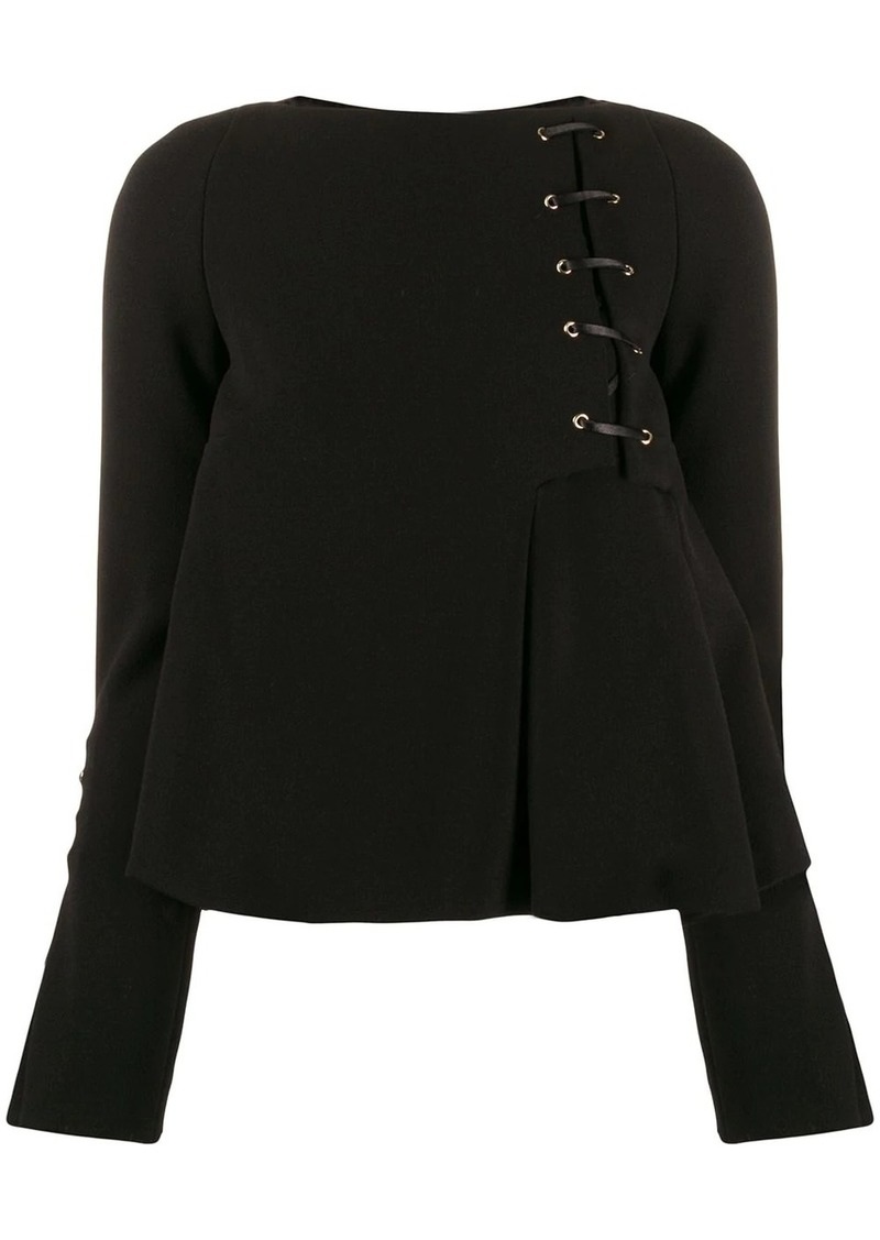 Just Cavalli flared lace up detail blouse