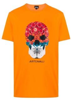 Just Cavalli floral skull-print short sleeved T-shirt