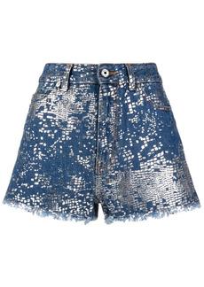 Just Cavalli foil-effect print denim shorts