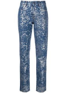 Just Cavalli foil-print slim-fit jeans