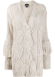 Just Cavalli fringed chunky-knit cardigan