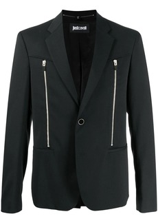 Just Cavalli front-zips one-button blazer