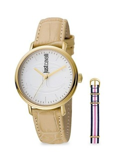 Just Cavalli Goldtone Stainless Steel & Croc-Embossed Leather-Strap Watch