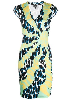 Just Cavalli graphic-print v-neck dress