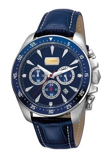 Just Cavalli 44mm Men's Sport Chrono Watch w/ Calf Leather Strap
