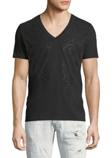 Just Cavalli Beaded V-Neck T-Shirt